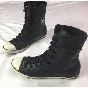 Converse Chuck Taylor Black Leather Shoes Sz 9